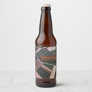Etiqueta Para Botella De Cerveza Tiro aéreo terroso acolchado campo del verde del