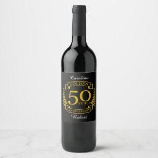 Etiqueta Para Botella De Vino 50 años de oro DE ORO de aniversario de boda 50