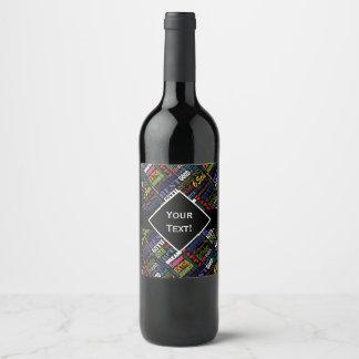 Etiqueta Para Botella De Vino 65.o monograma personalizado de la fiesta de
