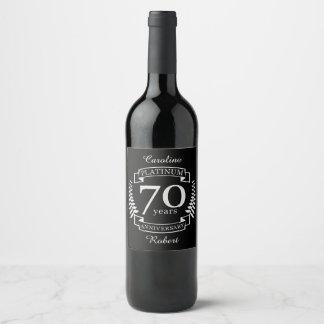Etiqueta Para Botella De Vino 70.o PLATINO del ANIVERSARIO de boda