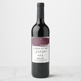 Etiqueta Para Botella De Vino Acuarela Marsala y señora futura Bridal Shower del