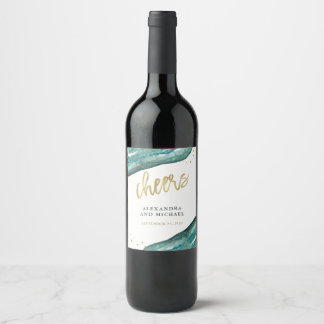 Etiqueta Para Botella De Vino Alegrías del boda de Geode del trullo y del oro de