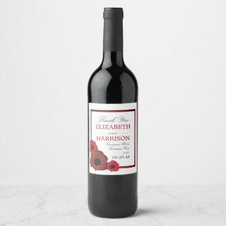 Etiqueta Para Botella De Vino Amapolas rojas y boda de la arpillera