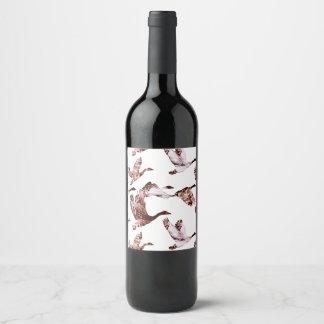 Etiqueta Para Botella De Vino Animales color de rosa polvorientos de las aves
