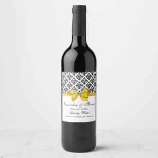 Etiqueta Para Botella De Vino Arco blanco del amarillo del damasco del negro del