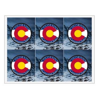Etiqueta Para Botella De Vino Bandera de la circular de Colorado