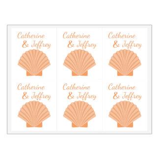 Etiqueta Para Botella De Vino Banquete de boda anaranjado náutico de la playa