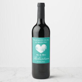 Etiqueta Para Botella De Vino Banquete de boda personalizado corazón rústico del