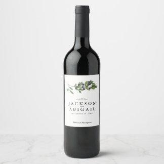Etiqueta Para Botella De Vino Boda de la rama de olivo de Watecolor