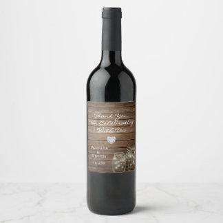 Etiqueta Para Botella De Vino Boda de madera rústico del corazón de los tarros
