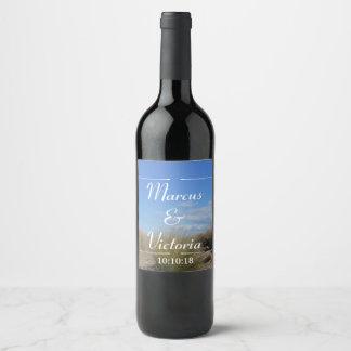 Etiqueta Para Botella De Vino Boda del mechón del país