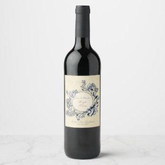 Etiqueta Para Botella De Vino Boda floral de la flor rústica del vintage