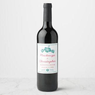 Etiqueta Para Botella De Vino Boda hawaiano del hibisco