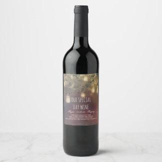 Etiqueta Para Botella De Vino Boda rústico de los tarros de albañil y de las