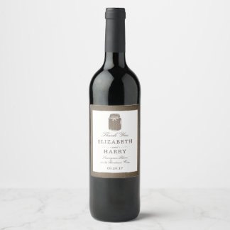 Etiqueta Para Botella De Vino Boda rústico del tarro de albañil de la arpillera