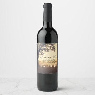 Etiqueta Para Botella De Vino Boda soñador rústico de las luces del árbol y de