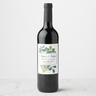Etiqueta Para Botella De Vino Botanica personalizó el boda