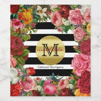 Etiqueta Para Botella De Vino Brillo de moda del oro de las flores de los rosas