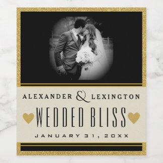 Etiqueta Para Botella De Vino Brillo del oro de la foto y boda elegante negro