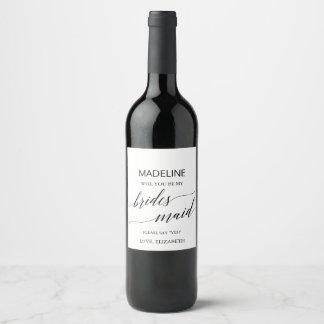 Etiqueta Para Botella De Vino Caligrafía elegante usted será mi dama de honor