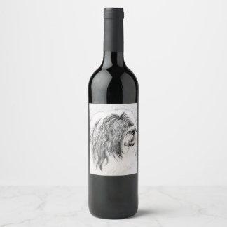 Etiqueta Para Botella De Vino Collie barbudo