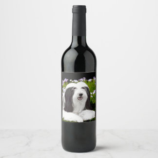Etiqueta Para Botella De Vino Collie barbudo (pintado)