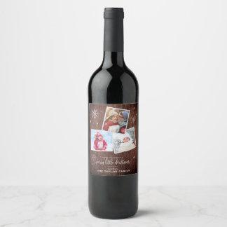 Etiqueta Para Botella De Vino Copo de nieve rústico el   3 navidad de la foto