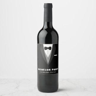 Etiqueta Para Botella De Vino Despedida de soltero negra del smoking