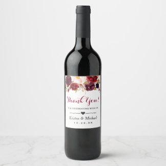 Etiqueta Para Botella De Vino El boda floral rojo de Borgoña de la acuarela le
