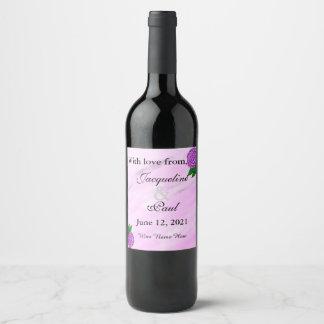Etiqueta Para Botella De Vino El boda floral ultravioleta de la acuarela le