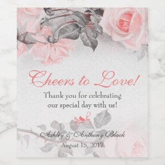 Etiqueta Para Botella De Vino El casarse de los rosas del rosa de la primavera