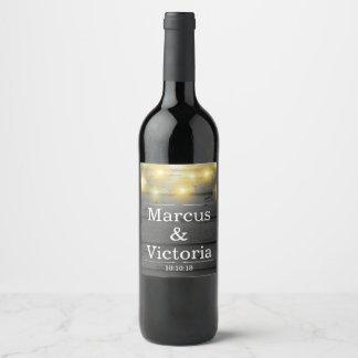Etiqueta Para Botella De Vino El casarse del país rústico cubre con tablas