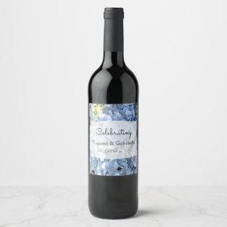 Etiqueta Para Botella De Vino El Hydrangea azul florece el boda
