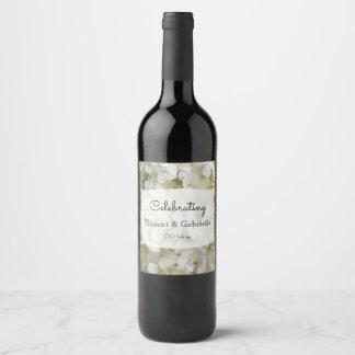 Etiqueta Para Botella De Vino El Hydrangea blanco florece el boda