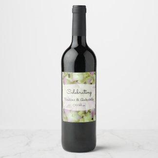Etiqueta Para Botella De Vino El Hydrangea casi rosado florece el boda