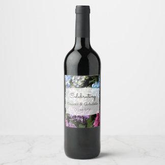 Etiqueta Para Botella De Vino El Hydrangea colorido florece el boda