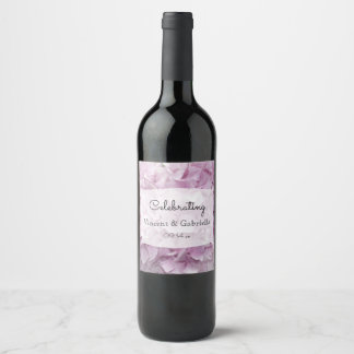 Etiqueta Para Botella De Vino El Hydrangea rosado suave florece el boda