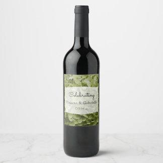 Etiqueta Para Botella De Vino El Hydrangea verde de Annabelle florece el boda