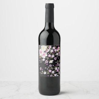 Etiqueta Para Botella De Vino Falln que conecta en cascada las flores rosadas