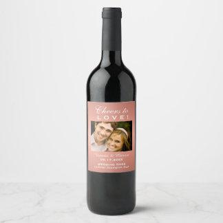 Etiqueta Para Botella De Vino Favor color de rosa de la botella de vino de la
