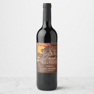 Etiqueta Para Botella De Vino Favor de madera rústico de la acción de gracias de