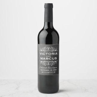 Etiqueta Para Botella De Vino Favor negro de la botella de vino del boda de la