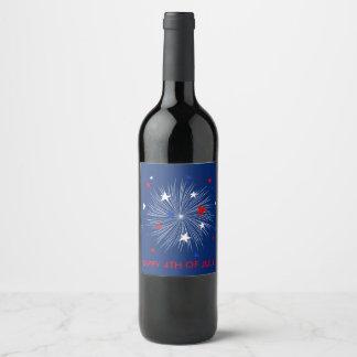 Etiqueta Para Botella De Vino ¡Feliz el 4 de julio! Fuegos artificiales de la