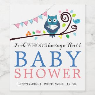 Etiqueta Para Botella De Vino Fiesta de bienvenida al bebé caprichosa del búho