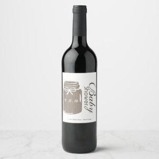 Etiqueta Para Botella De Vino Fiesta de bienvenida al bebé rústica del tarro de