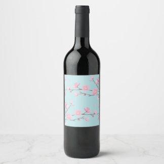 Etiqueta Para Botella De Vino Flor de cerezo - azul de cielo