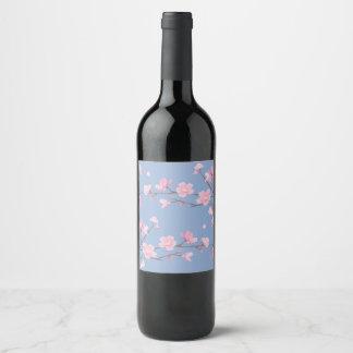 Etiqueta Para Botella De Vino Flor de cerezo - azul de la serenidad
