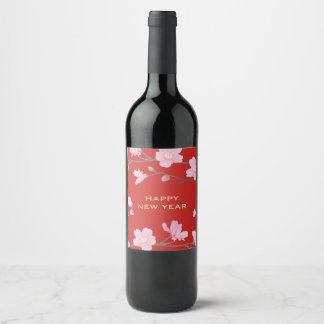 Etiqueta Para Botella De Vino Flor de cerezo - Feliz Año Nuevo