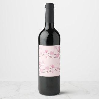 Etiqueta Para Botella De Vino Flor de cerezo - rosa