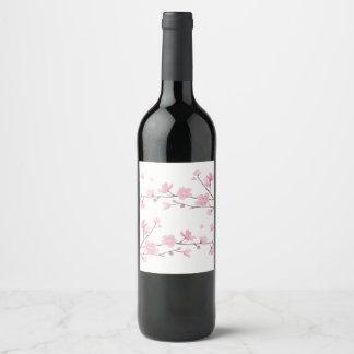 Etiqueta Para Botella De Vino Flor de cerezo - transparente
